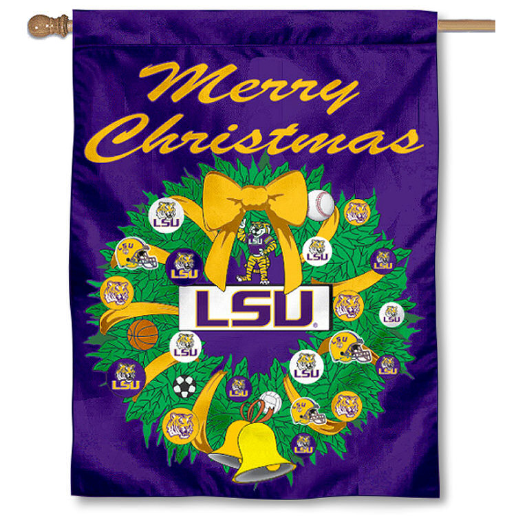 LSU Tigers Merry Christmas Wreath Decorative Holiday Wreath House Flag
